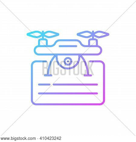 Drone License Gradient Linear Vector Icon. Issuance Of Permits For Drone Flights. Drone Piloting Tra