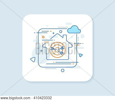 Target Line Icon. Abstract Vector Button. Marketing Targeting Strategy Symbol. Aim With Arrows Sign.