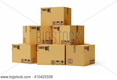 Heap Of Carton Cardboard Boxes Over White Background, Freight, Cargo, Delivery Or Storage Concept, 3