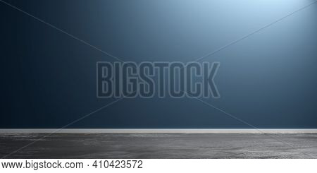 Blue Empty, Modern, Abstract Studio Room With Rough Concrete Floor, Product Display Presentation Tem