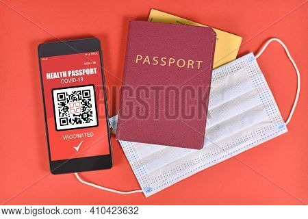 Concept For International Corona Virus Vaccine Passport On Mobile Phone Device To Allow Vaccinated P