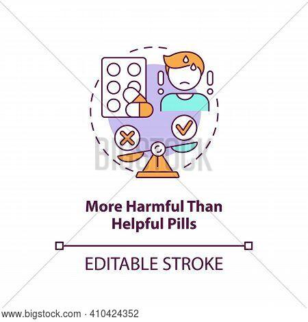 More Harmful Than Helpful Pills Concept Icon. Online Pharmacy Idea Thin Line Illustration. Unregiste
