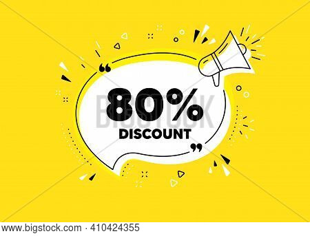 80 Percent Discount. Megaphone Yellow Vector Banner. Sale Offer Price Sign. Special Offer Symbol. Th