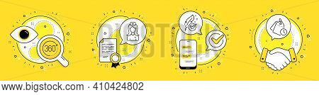 Hospital Nurse, 360 Degrees And Hypoallergenic Tested Line Icons Set. Licence, Cell Phone And Deal V