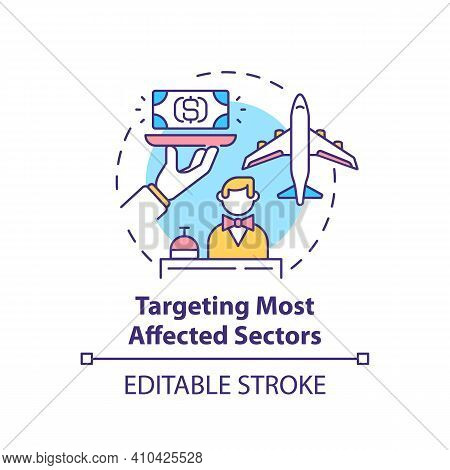Targeting Most Affected Sectors Concept Icon. Type Of Business Activity Idea Thin Line Illustration.