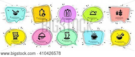 Food And Drink Icons Set. Speech Bubble Offer Banners. Vector Coupon Badge. Included Icon As Frappe,