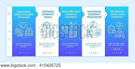 Top Management Tasks Onboarding Vector Template. Implementing Company Strategy. Managing Company Res