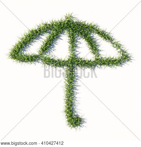 Concept or conceptual green summer lawn grass symbol shape isolated on white background, sign of opened umbrella. A 3d metaphor for protection, security and comfort,  tourism, fashion and style