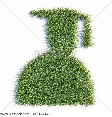 Concept or conceptual green summer lawn grass symbol shape isolated white background, sign of graduate cap. A 3d illustration metaphor for academic achievement, success, a future professional carrer
