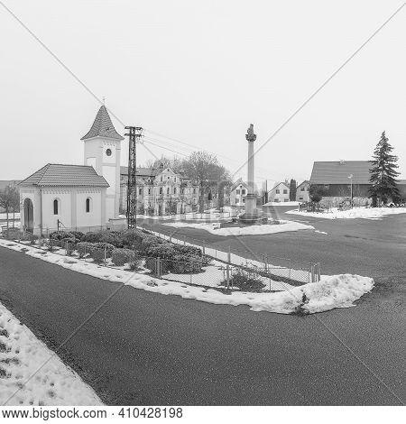 Polaky, Czech Republic - February 21, 2021: Centre Of Village In Winter