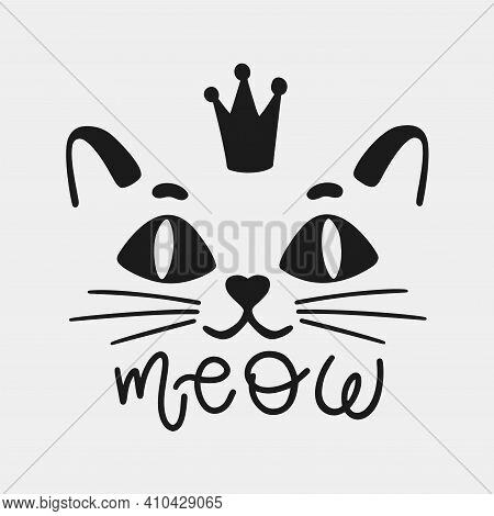 Cat Face Animal With Crown And Inscription Meow .silhouette Black Logo Isolated In White Background.