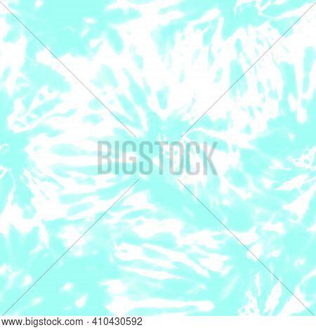 Tie Dye Shibori Seamless Pattern. Hand Drawn Pastel Color Ornamental Elements Background. Teal Blue