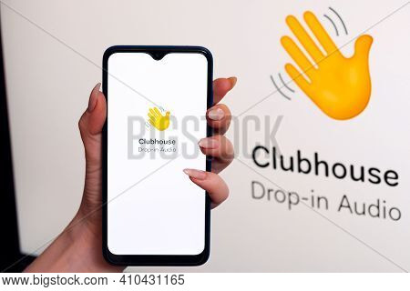 Vichuga, Russia - February 28, 2021: Smartphone With The Logo Of The Application Of The Modern Socia