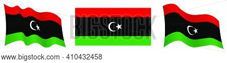 Libya Flag In Static Position And In Motion, Fluttering In Wind In Exact Colors And Sizes, On White