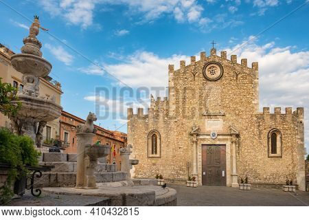 Church of San Nicola located on Piazza del Duomo in old town of Taormina, Sicily, Italy