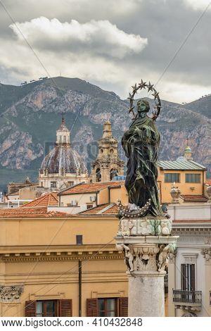 Colonna dell'Immacolata  close-up at Piazza San Domenico in Palermo, Sicily, Italy.