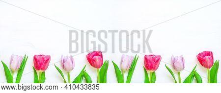 Easter background, easter flowers, lovely tulip flowers on wooden background, easter spring border with pink tulip flowers, easter background, easter card, easter border for festive easter text