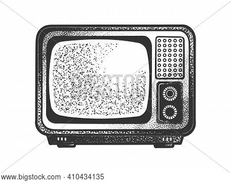 Old Tv Set Sketch Engraving Vector Illustration. T-shirt Apparel Print Design. Scratch Board Imitati