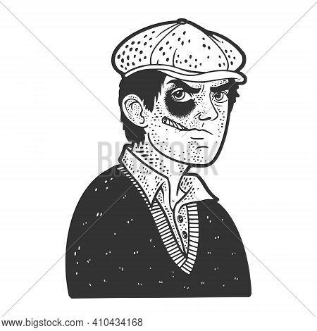 Hooligan Bully Man With Black Eye Sketch Engraving Vector Illustration. T-shirt Apparel Print Design