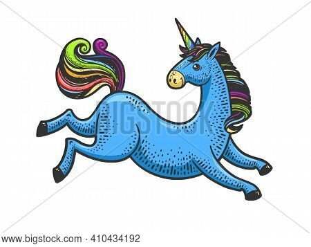Unicorn Cartoon Legendary Creature Color Sketch Engraving Vector Illustration. T-shirt Apparel Print