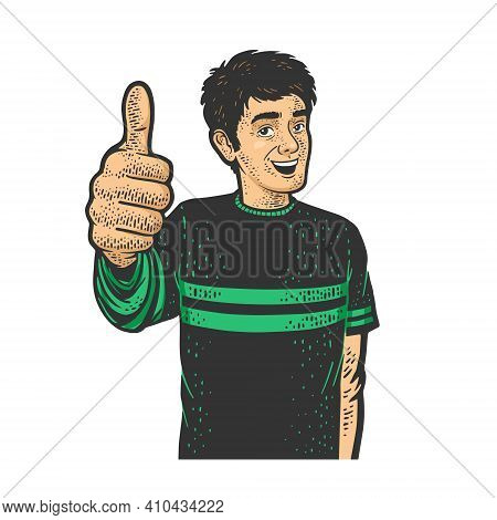 Man Thumbs Up Color Sketch Engraving Vector Illustration. T-shirt Apparel Print Design. Scratch Boar