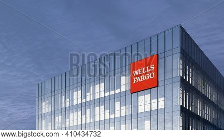 San Francisco, Ca. February 27, 2021. Editorial Use Only, 3d Cgi. Wells Fargo Signage Logo On Top Of