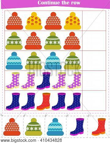 Logic Game For Children. Continue With A Row Of Hats And Boots. Vector Illustration