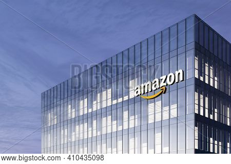 Seattle, Wa, Usa. February 18, 2021. Editorial Use Only, 3d Cgi. Amazon Signage Logo On Top Of Glass