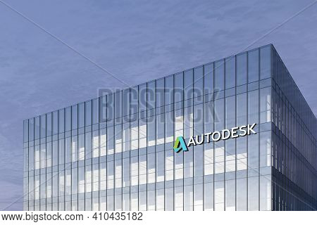 San Rafael, Ca, Usa. February 18, 2021. Editorial Use Only, 3d Cgi. Autodesk Signage Logo On Top Of