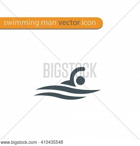 Vector Symbol Of A Swimmer. Swimming Pool Icon. Sports Activity In Water Sign.