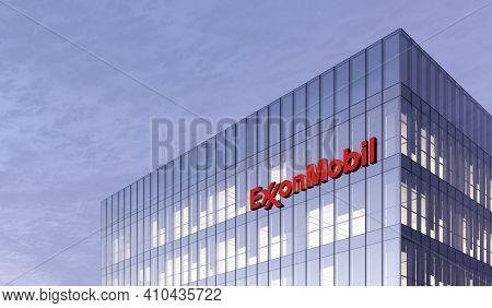 Irving, Texas, United States. February 25, 2021. Editorial Use Only, 3d Cgi. Exxonmobil Signage Logo