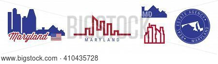 Maryland Real Estate Agency. Us Realty Emblem Icon Set. Flat Vector Illustration. American Flag Colo