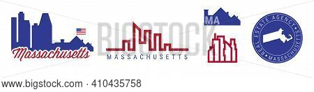 Massachusetts Real Estate Agency. Us Realty Emblem Icon Set. Flat Vector Illustration. American Flag