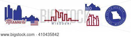 Missouri Real Estate Agency. Us Realty Emblem Icon Set. Flat Vector Illustration. American Flag Colo