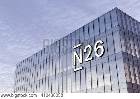 Berlin, Germany. February 17, 2021. Editorial Use Only, 3d Cgi. N26 Online Bank Signage Logo On Top
