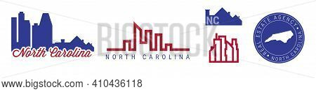 North Carolina Real Estate Agency. Us Realty Emblem Icon Set. Flat Vector Illustration. American Fla