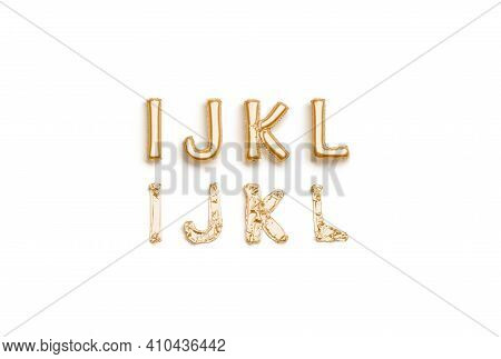 Inflated, Deflated Gold I J K L Letters, Balloon Font, 3d Rendering. Decoration Uppercase Baloon Typ