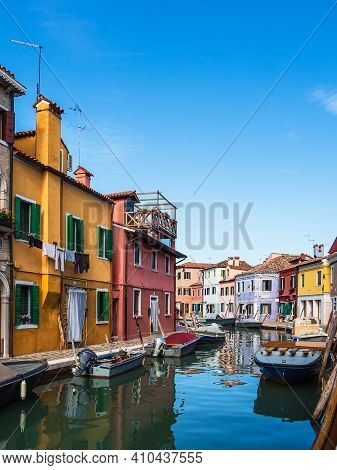 Colorful Buildings On The Island Burano Near Venice, Italy.