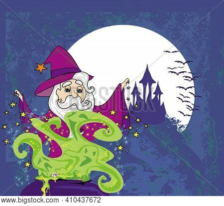 Wizard Preparing Potion  Grunge Card , Vector Illustration