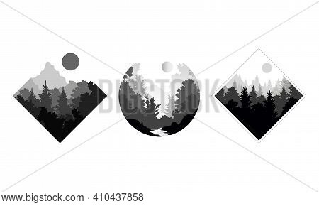 Set Of Beautiful Monochrome Landscapes, Mountain Landscape With Silhouettes Of Coniferous Trees Vect