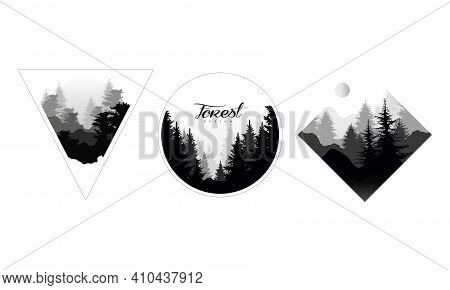 Monochrome Landscapes Set, Mountain Landscape With Silhouettes Of Coniferous Trees Vector Illustrati