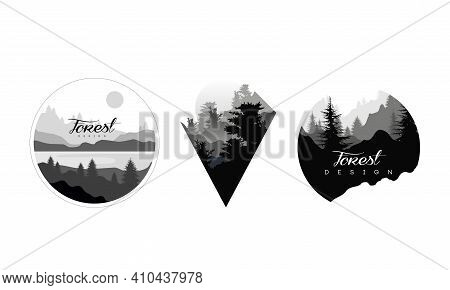 Beautiful Monochrome Landscapes Set, Wild Forest Mountain Landscape With Silhouettes Of Coniferous T