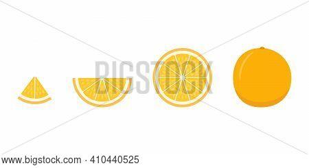 Set Of Ripe Orange - Whole, Cut Half, Piece And Slice Chopped Of Orange. Fresh Sour Citrus Fruit Wit
