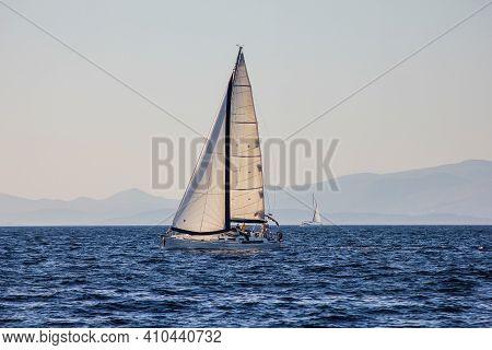 Adriatic Sea, Croatia - October 1, 2011: View Of A Sailboat On The Adriatic Sea