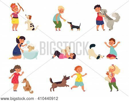 Kids With Dogs. Pet Playing, Girl Boy Petting Dog. Children Play Puppy, Feeding Walking Cartoon Dome