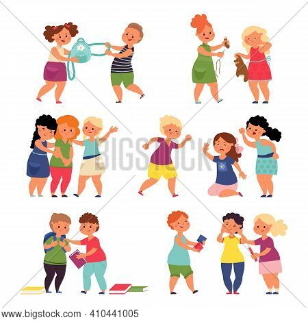 Bad Good Kids. Cartoon Children, Happy Brother Sister Playing Toy. Cute Boy Girl, Angry Bully And Fu