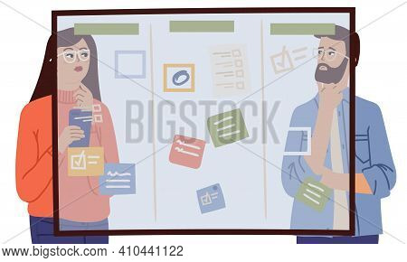 Woman Man Thinking. Couple Glass Planning Board With Tasks. Team Brainstorm, Detectives At Work. Bus