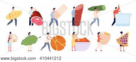 Flat Person Cooking. Food Cook Service, Woman Cutting Products. People Prepare Dinner Lunch, Happy R