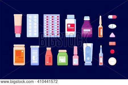 Pharmaceutical Medications. Pharmacy Bottle, Medicinal Drug And Pills. Cartoon Painkiller, Drugstore