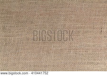 Close Up On A Beige Hessian Fabric